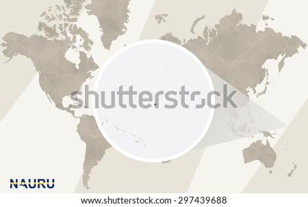 Zoom on Nauru Map and Flag. World Map.  - stock vector
