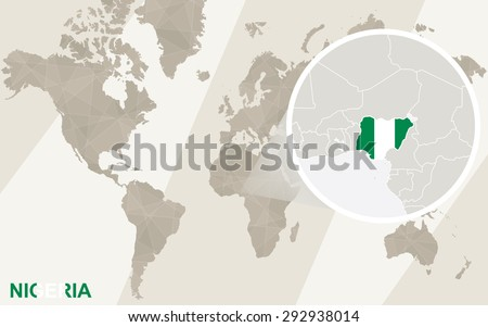 Zoom on Nigeria Map and Flag. World Map.  - stock vector