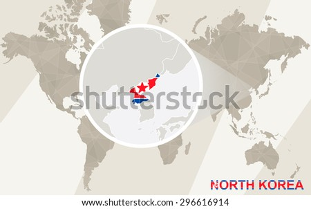Zoom on North Korea Map and Flag. World Map.  - stock vector
