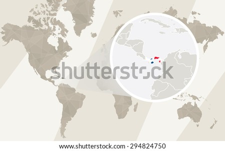 Zoom on Panama Map and Flag. World Map.  - stock vector
