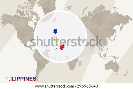 Zoom on philippines map flag world stock vector hd royalty free zoom on philippines map and flag world map gumiabroncs Choice Image