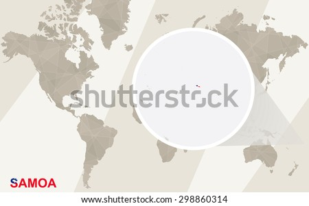 Zoom on Samoa Map and Flag. World Map.  - stock vector