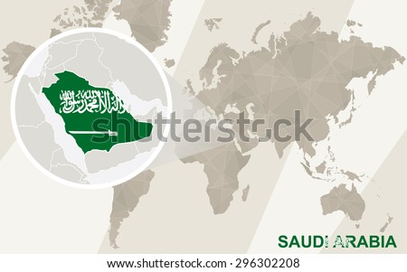 Zoom on Saudi Arabia Map and Flag. World Map.  - stock vector