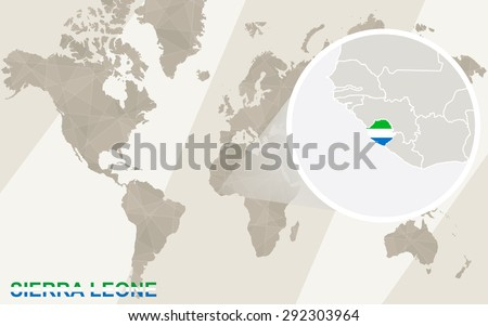 Zoom on Sierra Leone Map and Flag. World Map.  - stock vector