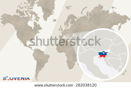 Zoom on Slovenia Map and Flag. World Map.  - stock vector