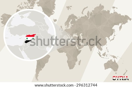 Zoom on Syria Map and Flag. World Map.  - stock vector