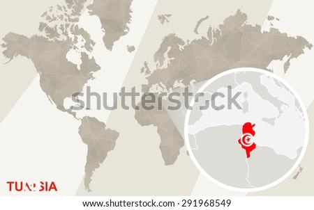 Zoom On Tunisia Map Flag World Stock Vector Shutterstock - Map of tunisia world