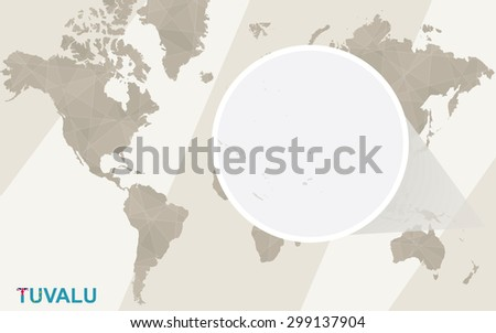 Zoom on Tuvalu Map and Flag. World Map.  - stock vector