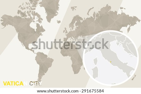 Zoom on Vatican City Map and Flag. World Map.  - stock vector