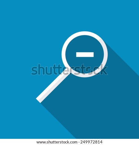 Zoom Out icon. Modern design flat style icon with long shadow effect - stock vector