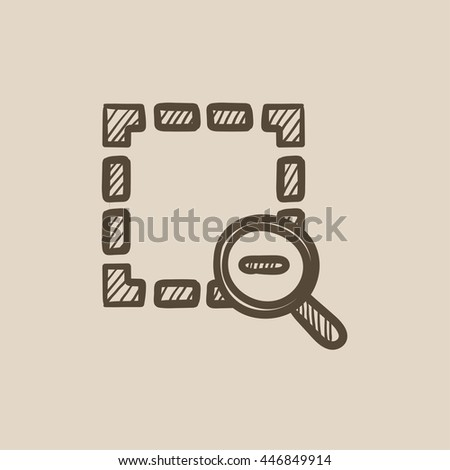 Zoom out vector sketch icon isolated on background. Hand drawn Zoom out icon. Zoom out sketch icon for infographic, website or app. - stock vector