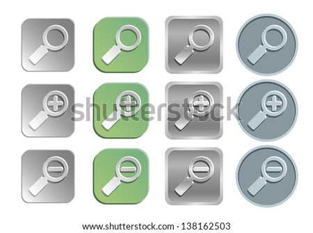 Zoom/search icon vector set