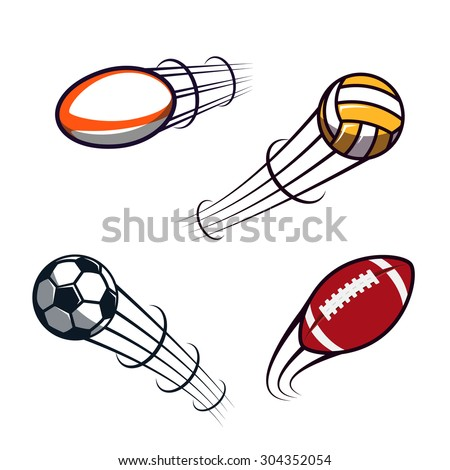 Zooming colorful soccer, volleyball, rugby, american football balls illustrations flying through the air with curved motion trails. Vector abstract illustration - stock vector