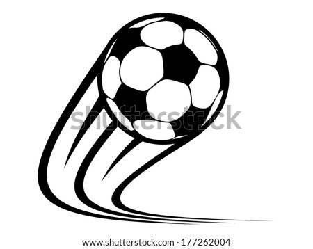 Zooming soccer ball logo flying through the air with curved motion trails in a black and white vector doodle sketch - stock vector