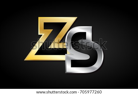 ZS Z S gold golden silver alphabet letter metal metallic grey black white background combination join joined together logo vector creative company identity icon design template modern