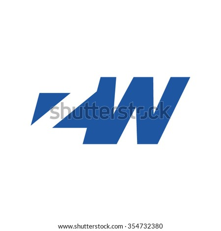 ZW negative space letter logo blue